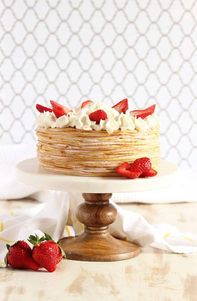 Strawberry Cream Crepe Cake | TheSuburbanSoapbox.com