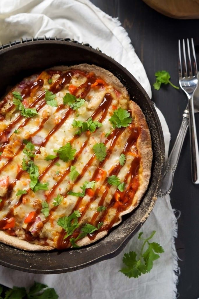 Cast-Iron-Skillet-Chipotle-BBQ-Chicken-Pizza-WithSaltandWit