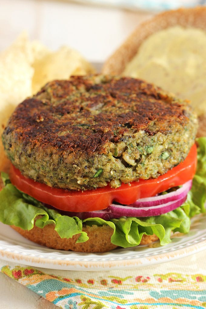 Mushroom White Bean and Farro Burger | TheSuburbansoapbox.com