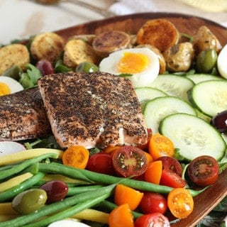 Salmon Nicoise Salad with Roasted Red Pepper Vinaigrette