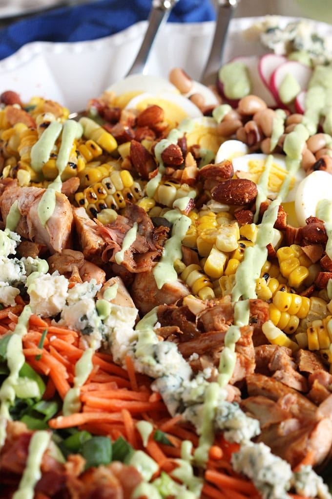 Barbecue Chicken Cobb Salad with Avocado Ranch Dressing | TheSuburbanSoapbox.com