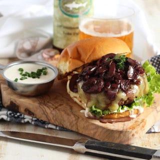 Beef Bourguignon Burger with Horseradish Creme Fraiche