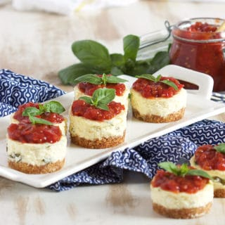 Mini Basil Parmesan Cheesecakes with Tomato Jam