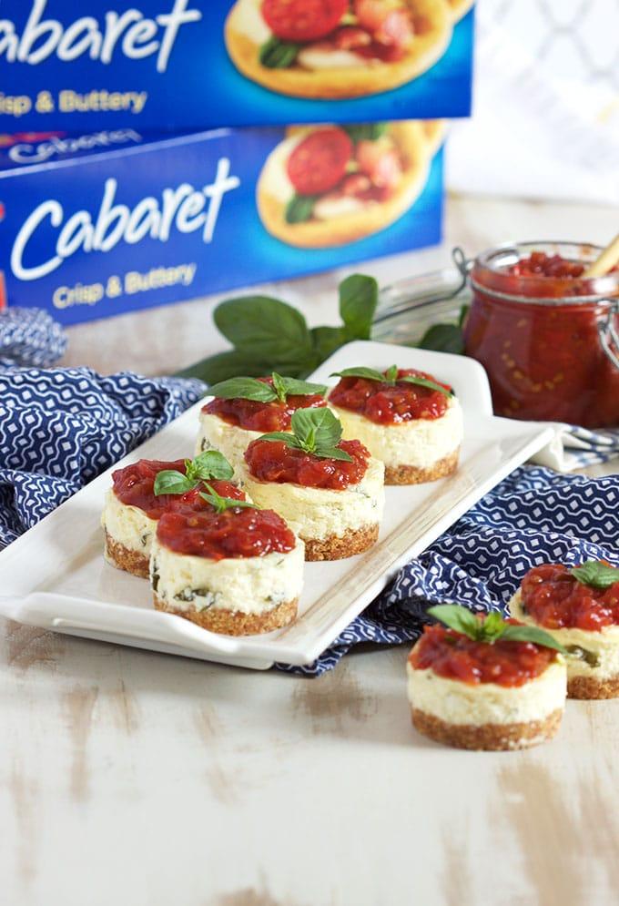 Mini Basil Parmesan Cheesecakes with Tomato Jam | TheSuburbanSoapbox.com #DareToEntertain
