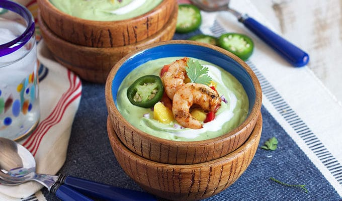 Chilled Avocado Soup with Grilled Chili Spiced Shrimp