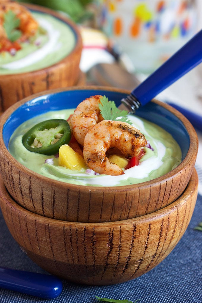 Chilled Avocado Soup with Grilled Chili Spiced Shrimp | TheSuburbanSoapbox.com