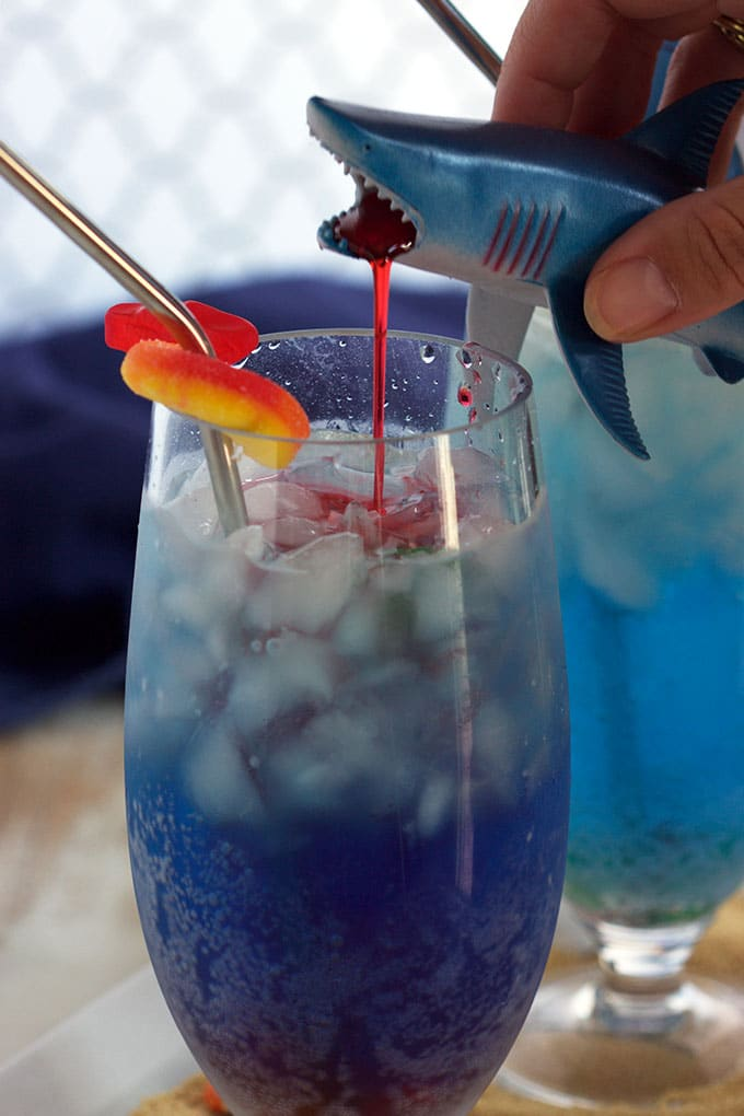 A fun kid-friendly Shark Attack Cocktail that's easy to make and perfect for Shark Week!