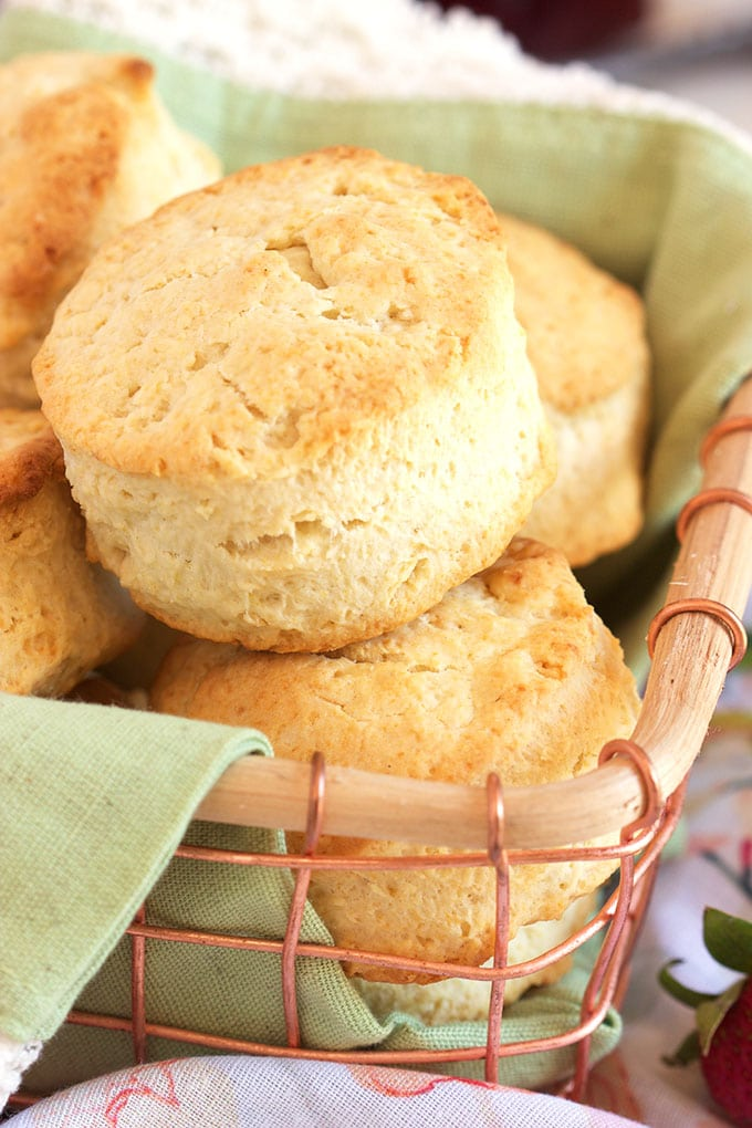 Super easy cream biscuits made with just TWO ingredients from TheSuburbanSoapbox.com.