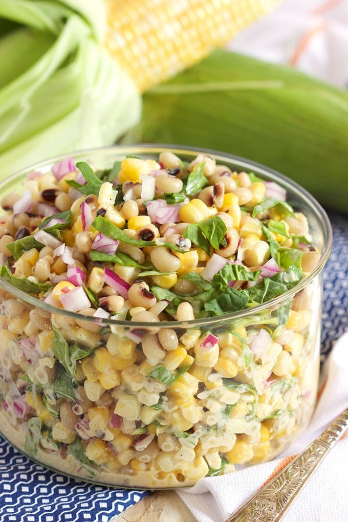 A fresh summer salad that's easy and healthy, Black-Eyed Pea and Corn Salad with Spinach recipe is perfect for picnics! @SuburbanSoapbox