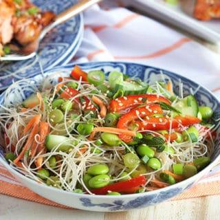 No Cook Asian Rice Noodle Salad