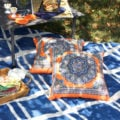 Super easy DIY No Sew Picnic Blanket is ready in 15 minutes and for under $10 from TheSuburbanSoapbox.com.