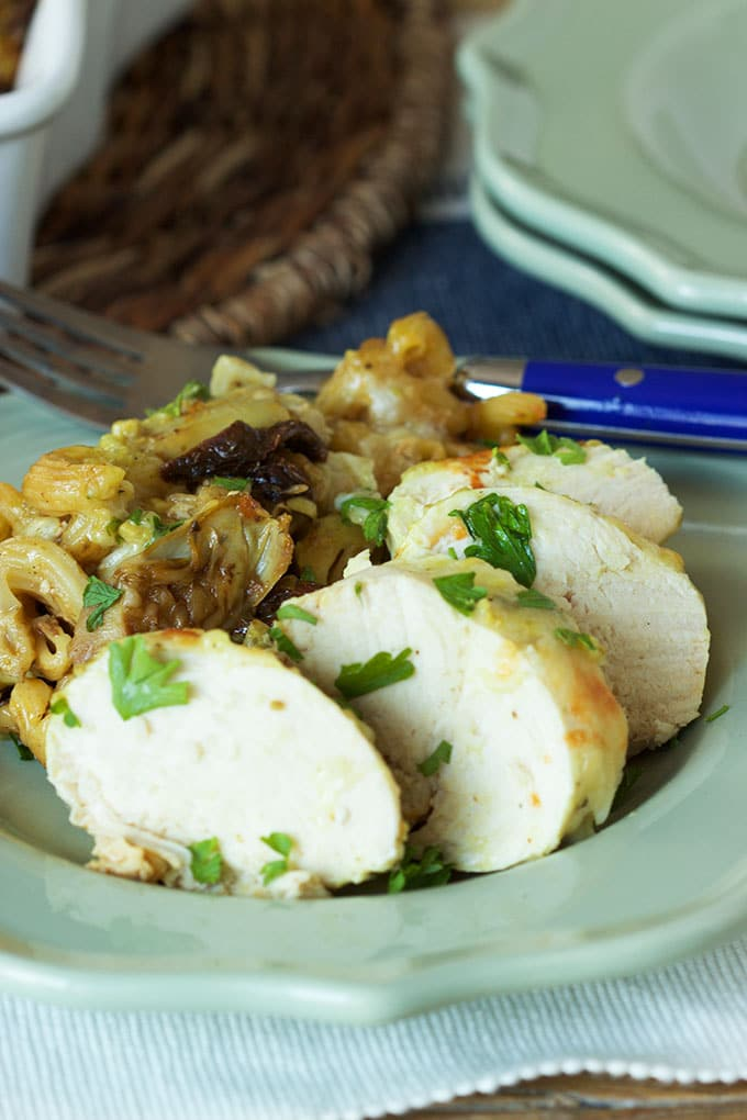 Super easy One Pot Garlic Herb Chicken with pasta is made with frozen chicken breasts. Super quick weeknight recipe from TheSuburbanSoapbox.com