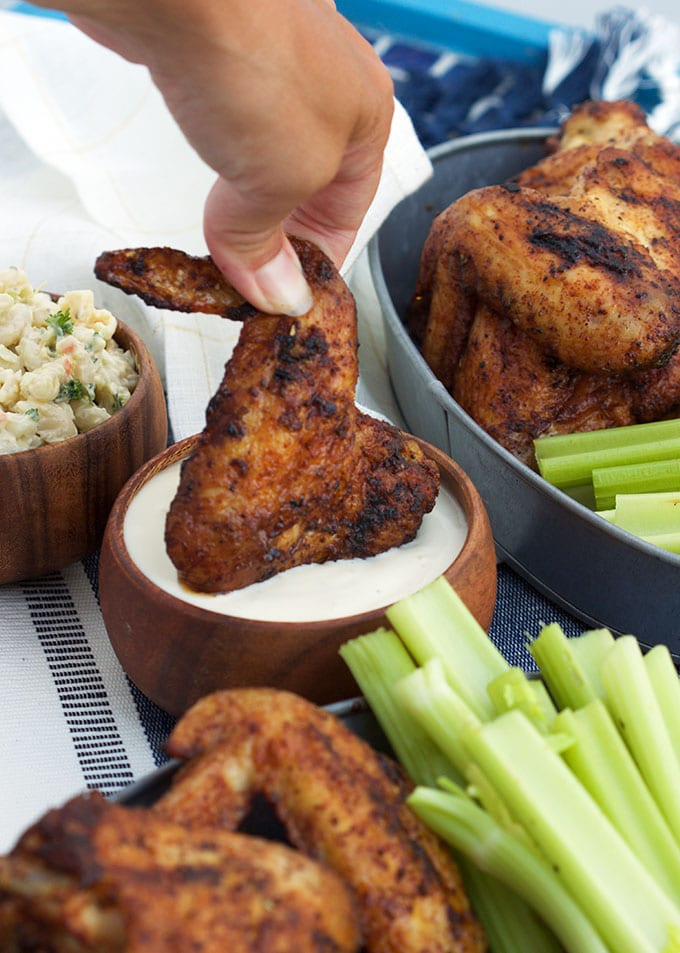 Easy Grilled Chicken Wings tossed in a spicy Old Bay seasoning...the best wing recipe ever from TheSuburbanSoapbox.com