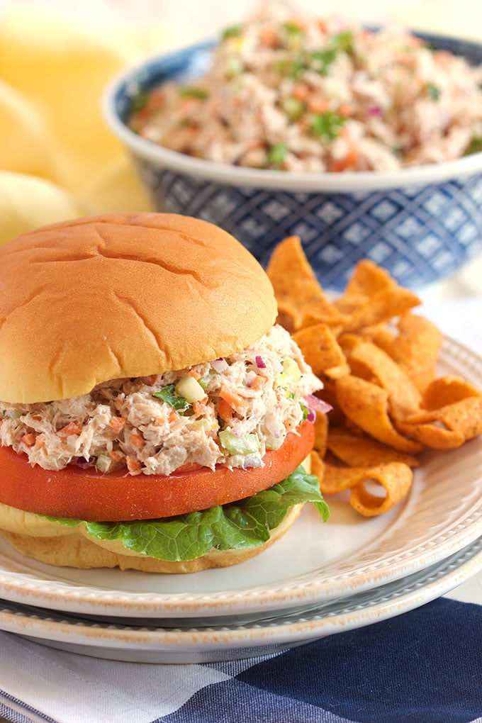 The BEST Tuna Salad recipe ever, so easy to make. Light, fresh and healthy from TheSuburbanSoapbox.com.