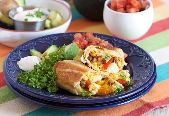 Freezer Breakfast Burritos with Chorizo