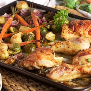 Sheet Pan Chicken with Brussel Sprouts Carrots and Potatoes