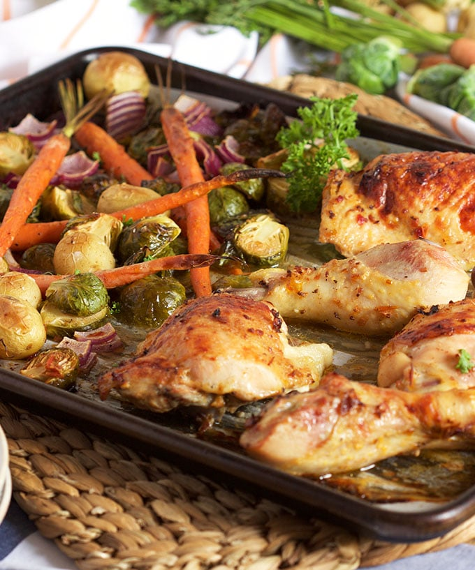 Skillet Chicken With Roasted Potatoes Carrots Recipe: Sheet Pan Chicken With Brussel Sprouts Carrots And