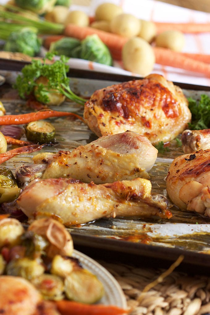 Easy Sheet Pan Chicken with Brussel Sprouts recipe is the perfect weeknight dinner from TheSuburbanSoapbox.com.