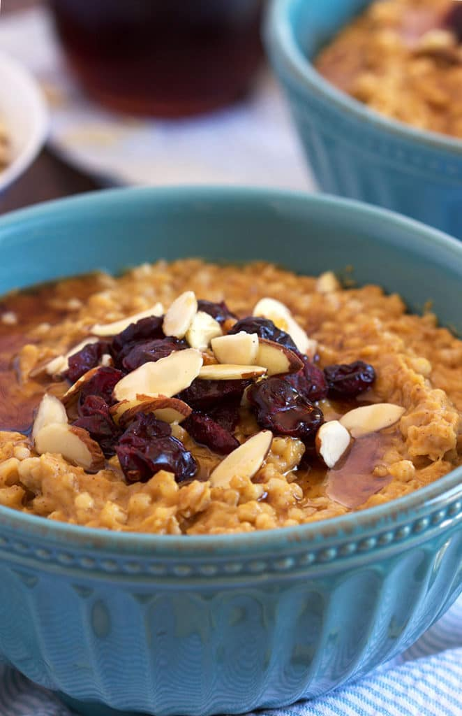 An easy weekday breakfast, Slow Cooker Pumpkin Spice Oatmeal is like warm pumpkin pie for breakfast! TheSuburbanSoapbox.com