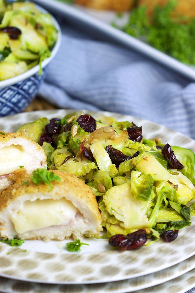 This easy Warm Brussels Sprouts Salad is ready in just 15 minutes and is perfect for busy weeknight dinners! TheSuburbanSoapbox.com #BarberNight