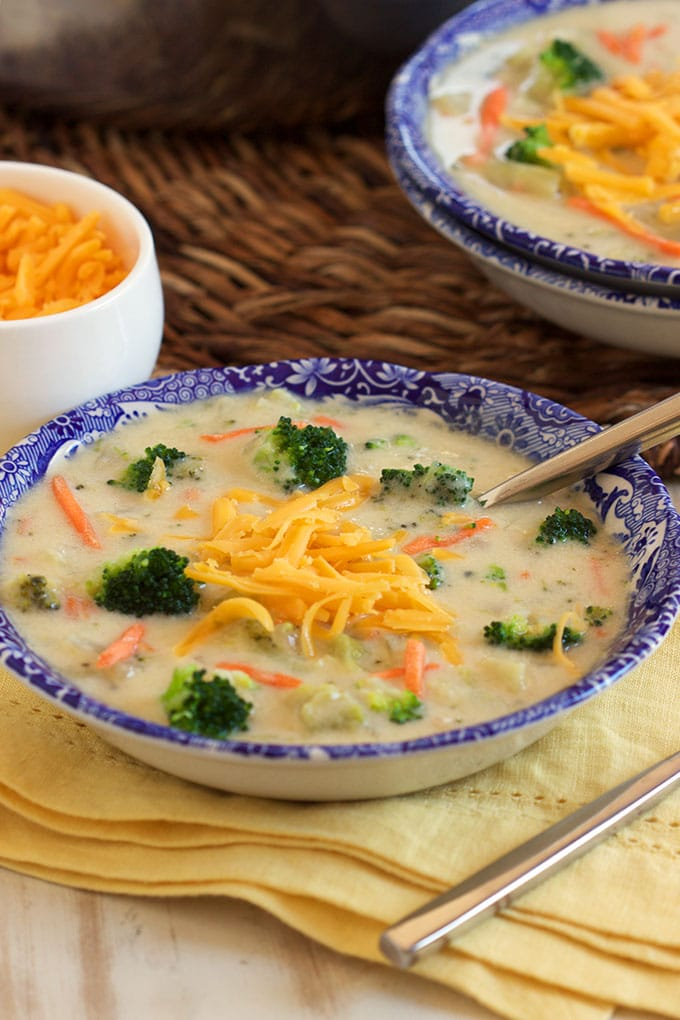 Super easy and ready in less than 30 minutes, this Easy Broccoli Cheddar Soup Recipe is better than take out! | TheSuburbanSoapbox.com