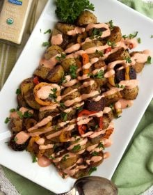 Cumin Spiced Roasted Potatoes with Goat Cheese Remoulade | ThesuburbanSoapbox.com #OrganicForAll