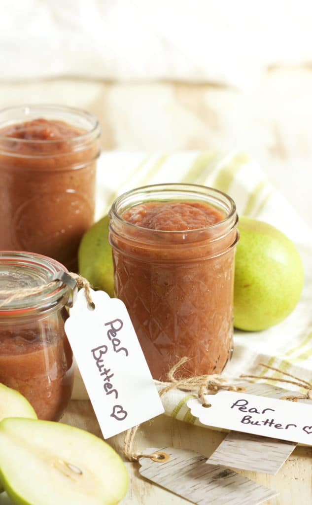 This easy to make Slow Cooker Pear Butter is like fall in a jar, perfect on everything. TheSuburbanSoapbox.com
