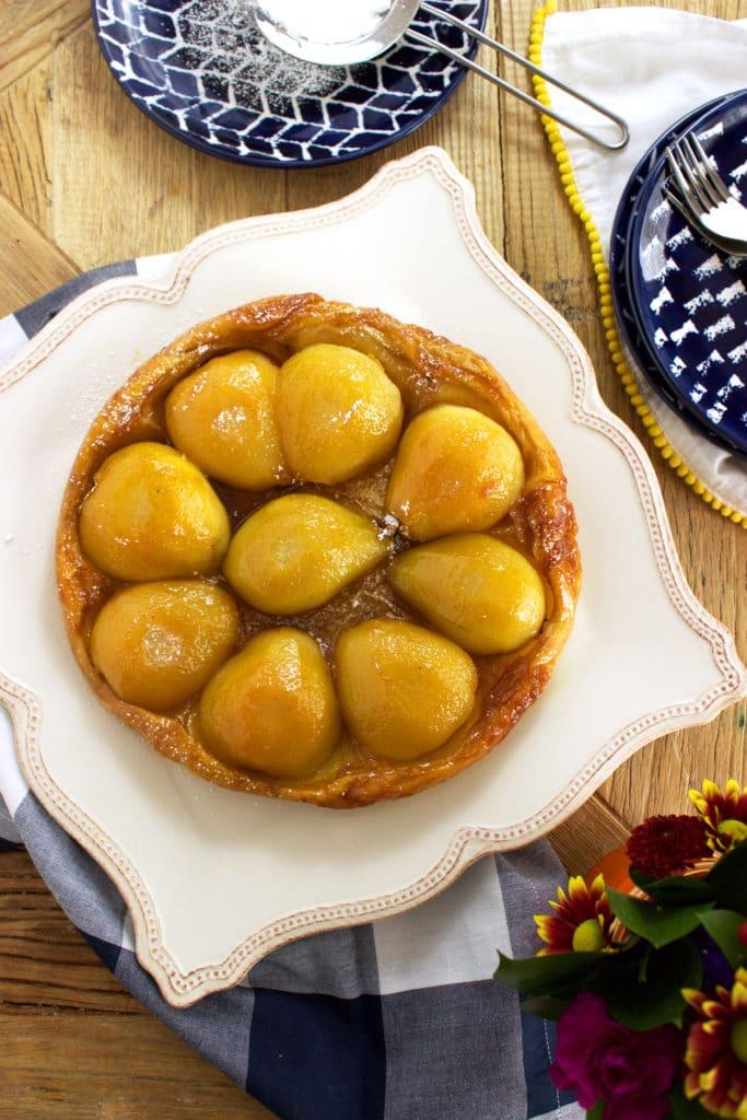 Easy, flaky, buttery Pear Tarte Tatin is the best fall dessert ever.   TheSuburbanSoapbox.com