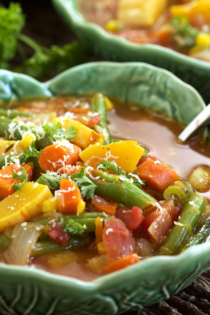 Packed with flavor, this is the Very Best Vegetable Soup recipe ever. TheSuburbanSoapbox.com