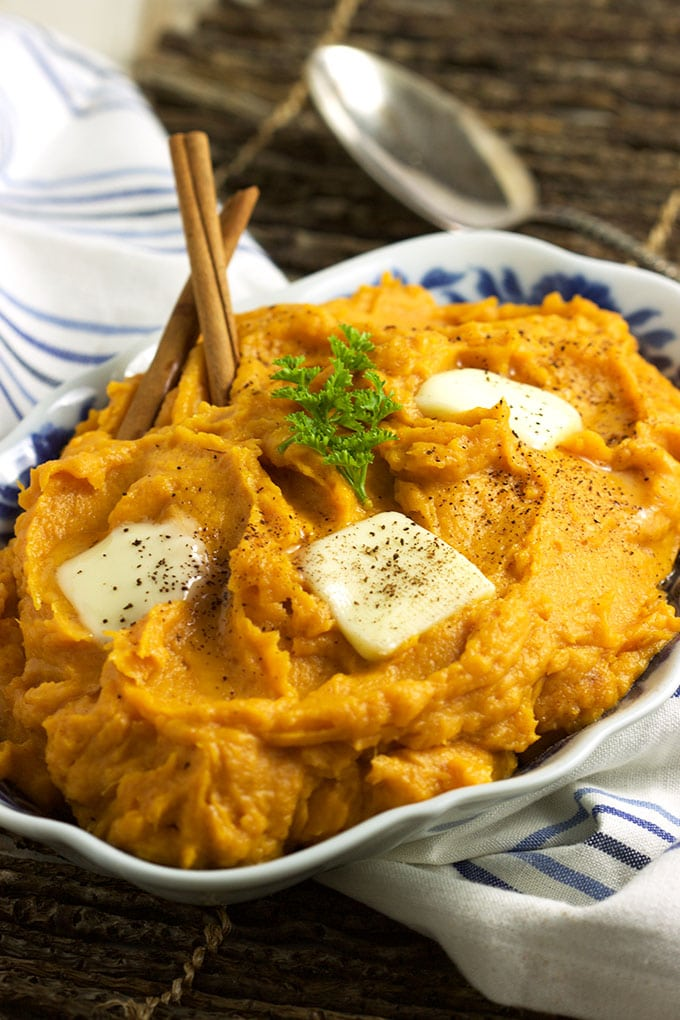 Super easy side dish recipe, Brown Butter Mascarpone Mashed Sweet Potatoes are the BEST thing you'll ever taste! TheSuburbanSoapbox.com