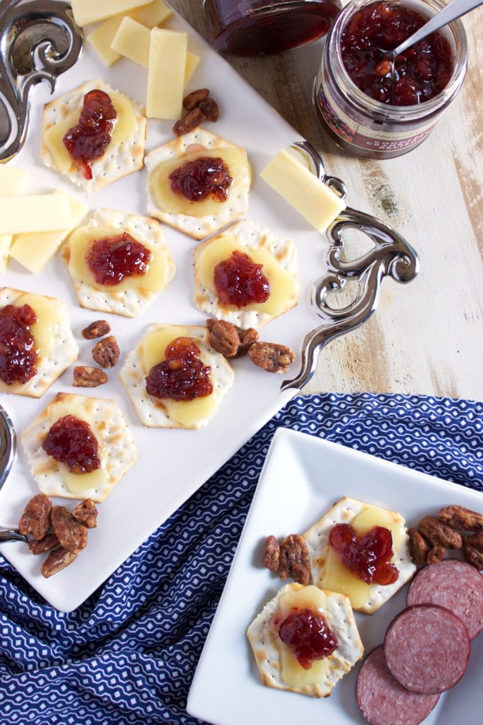 Super easy holiday appetizer recipe, just 3 ingredients are all you need for these addictive Cranberry Relish Cheddar Crackers   TheSuburbanSoapbox.com