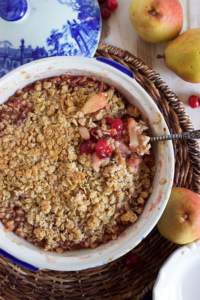 Simply the BEST Cranberry Pear Crisp recipe you'll ever make. Easy and perfectly balanced flavors. | TheSuburbanSoapbox.com