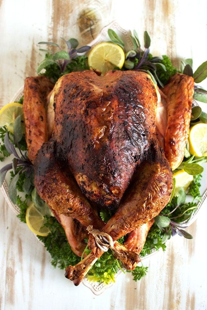 Overhead shot of Sage Pesto Roasted Turkey.