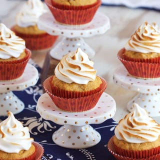 Sweet Potato Cupcakes with Marshmallow Meringue Frosting
