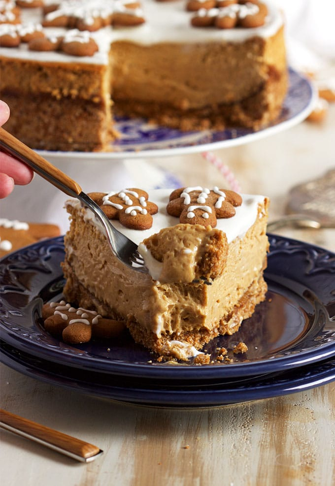 Easy to make and the BEST Gingerbread Cheesecake recipe ever because of one secret ingredient that surprises everyone! | TheSuburbanSoapbox.com