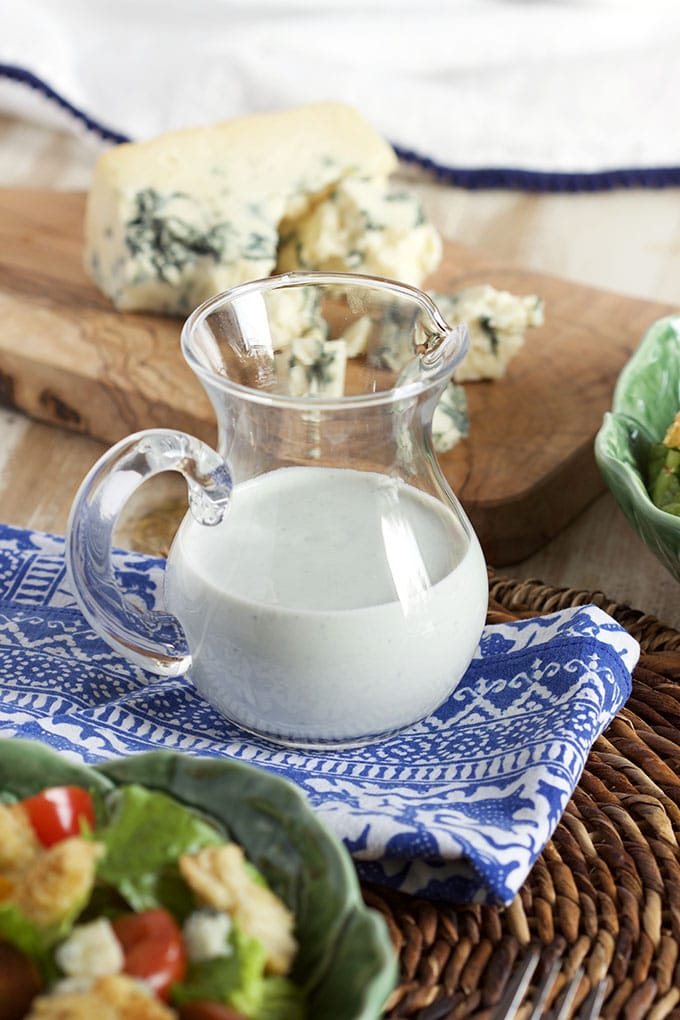 The very BEST and EASY Blue Cheese Salad Dressing that's light and healthy  but loaded with flavor. | TheSuburbanSoapbox.com
