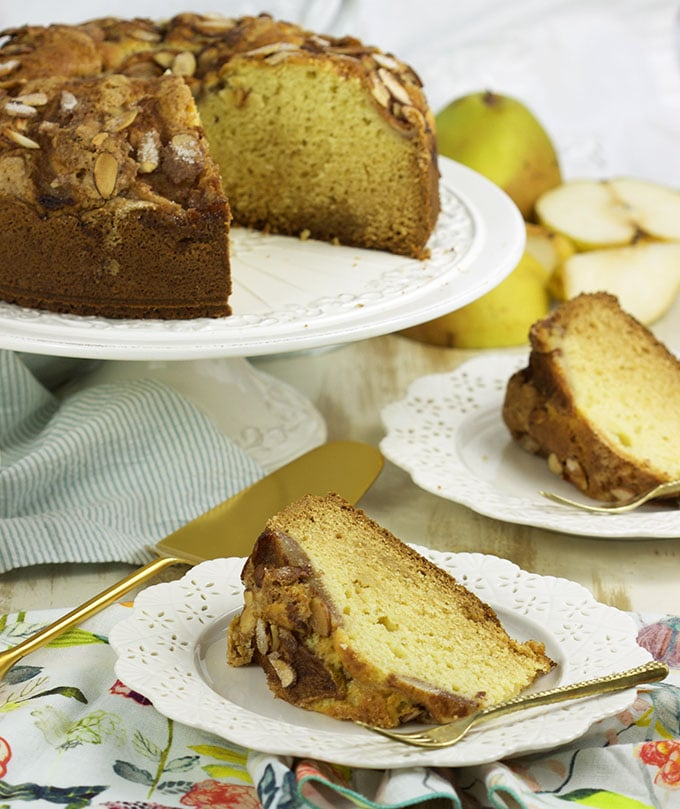 Sweet and moist, this easy Pear Almond Coffee Cake is the perfect recipe for any occasion. | TheSuburbanSoapbox.com