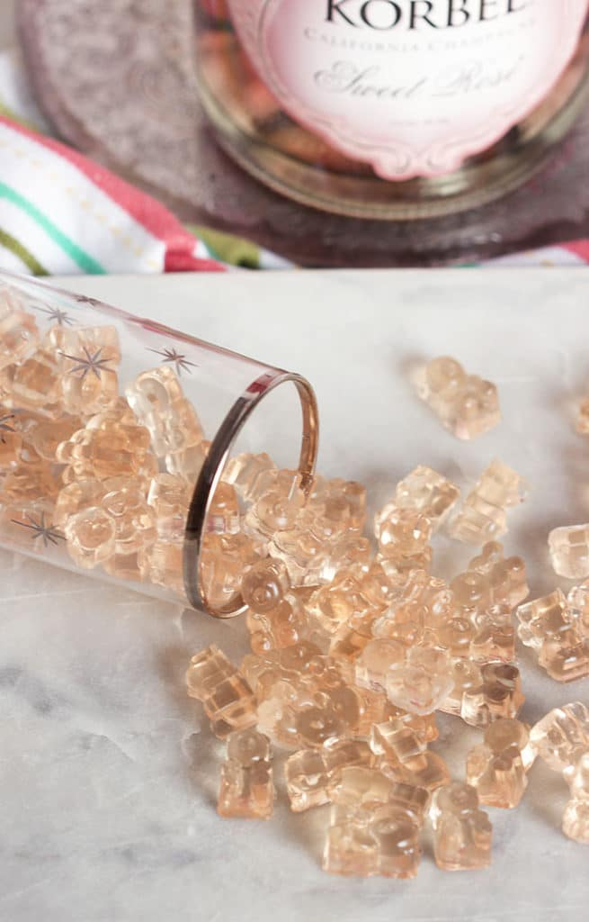 Make your own Pink Champagne Gummy Bears, so easy and simple. The best way to celebrate any occasion.  | TheSuburbanSoapbox.com