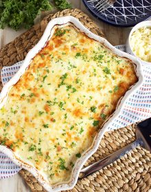 Completely from scratch and so easy to make, this is the Very Best Potatoes Au Gratin recipe ever. | TheSuburbanSoapbox.com