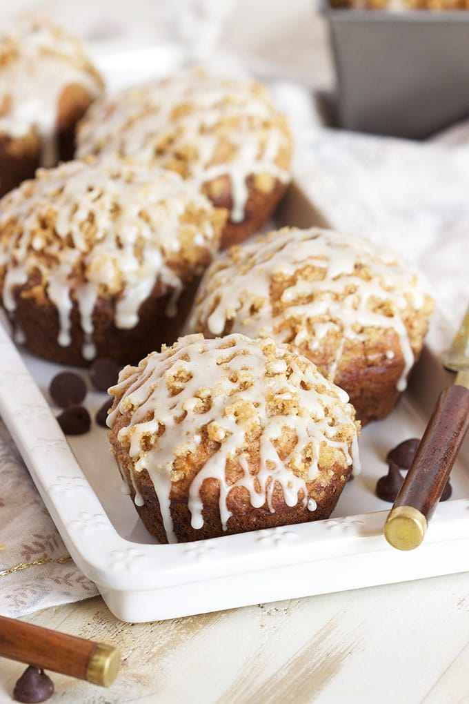 Moist, tender and easy, these Chocolate Chip Ricotta Banana Bread Muffins are the perfect breakfast or brunch recipe.   TheSuburbanSoapbox.com