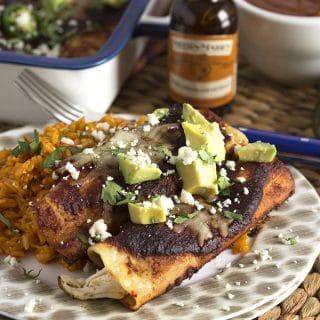 Super Easy Chicken Mole Enchiladas