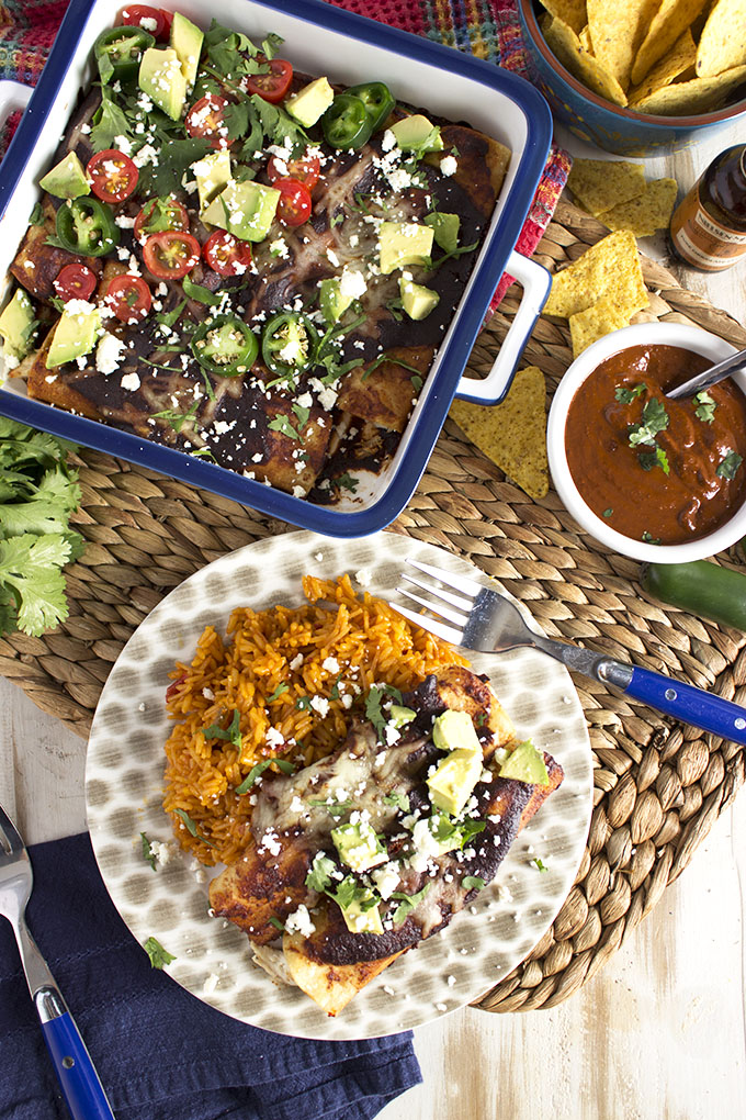 The BEST Chicken Mole Enchiladas ever with the Easiest Mole Sauce on the planet. | TheSuburbanSoapbox.com