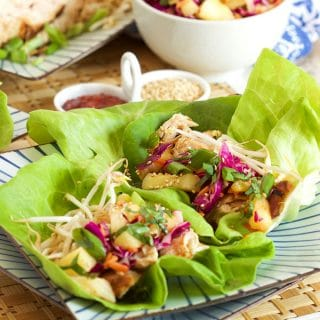 Grilled Teriyaki Chicken Lettuce Wraps with Pineapple Slaw