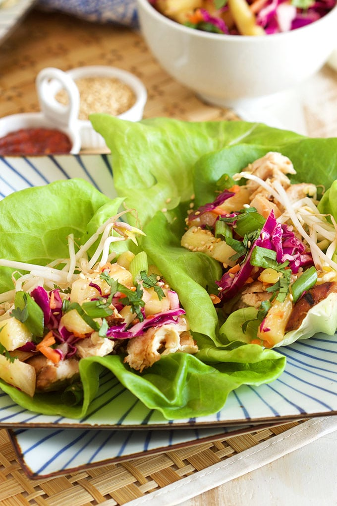 Grilled Teriyaki Chicken Lettuce Wraps with Pineapple Slaw | TheSuburbanSoapbox.com