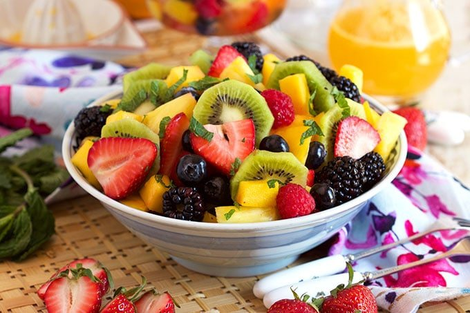 Sparkling Fruit Salad With Champagne Mimosa Dressing