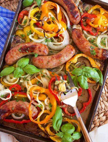 Sheet Pan Sausage and Peppers | TheSuburbanSoapbox.com recipe