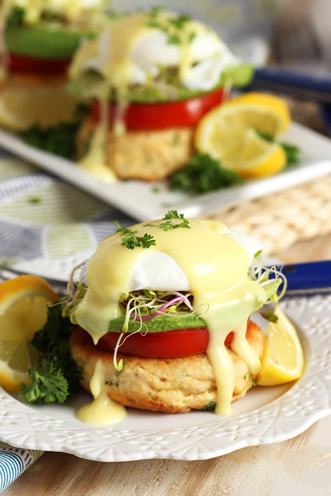 Easy to make, healthy and filling, these California Style Tuna Eggs Benedict recipe are perfect for any occasion. Make a great breakfast for dinner, too! | TheSuburbanSoapbox.com