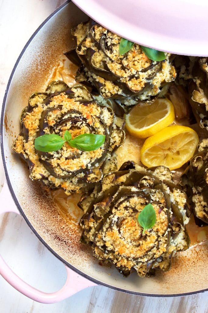 Easy to make Baked Cheese Stuffed Artichokes are great for any occasion, the BEST recipe for artichokes. | TheSuburbanSoapbox.com