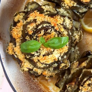 Baked Cheese Stuffed Artichoke Recipe // Giveaway