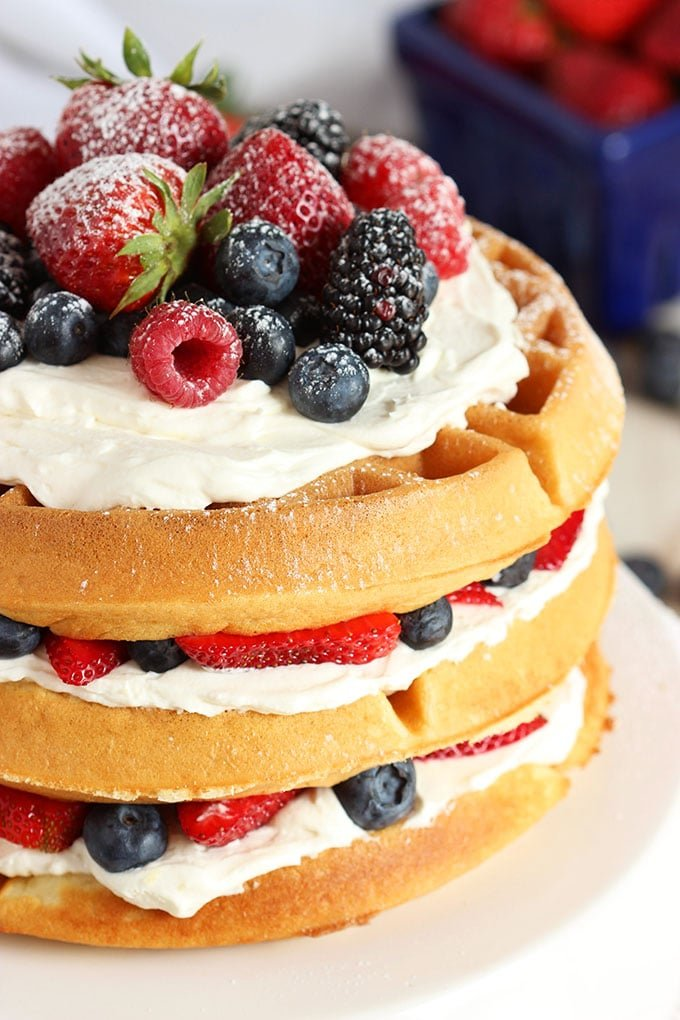 Incredibly easy to make, this Berry Vanilla Bean Belgian Waffle Cake using a simple waffle mix so your cake is ready in less than 30 minutes!   TheSuburbanSoapbox.com